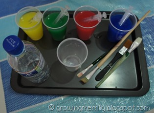 Tray for colour mixing and fine motor skill