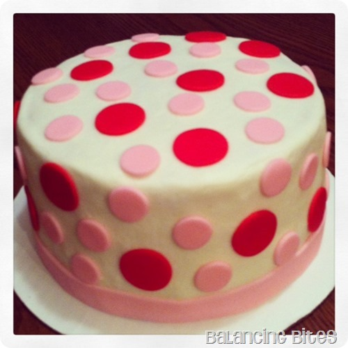 Balancing Bites---Red and Pink Polka Dot Cake
