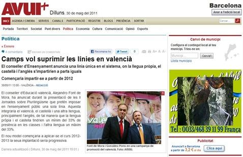 ataca del PP contra lo valencian avui 300511