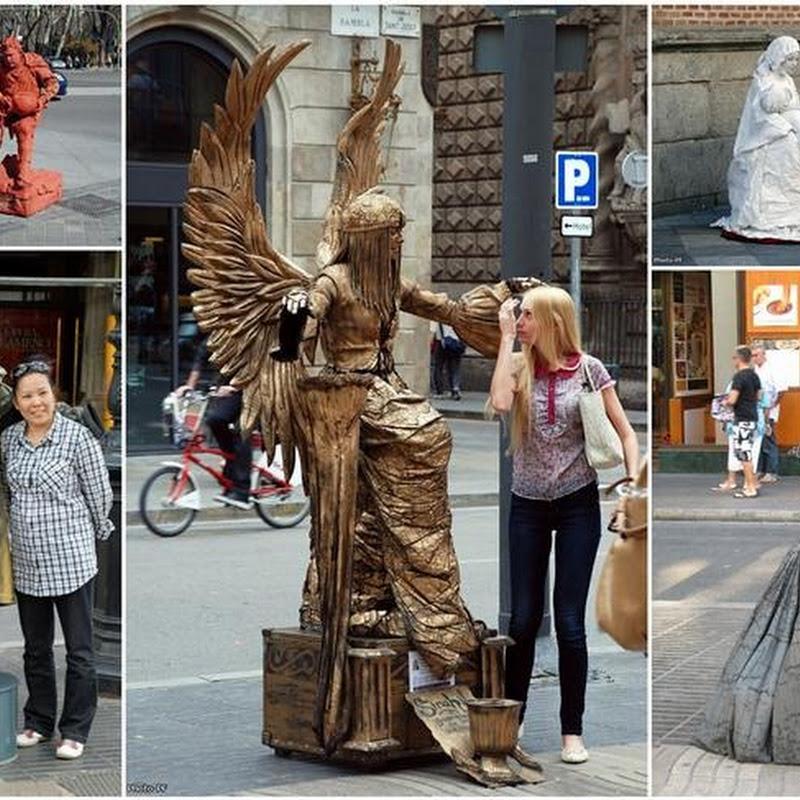 Living Statues At La Rambla Street, Barcelona