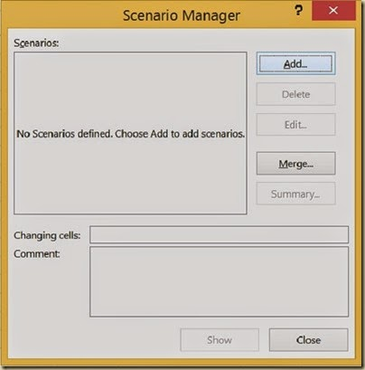 Scenario Analysis in Excel - Scenario Manager Dialogue Box
