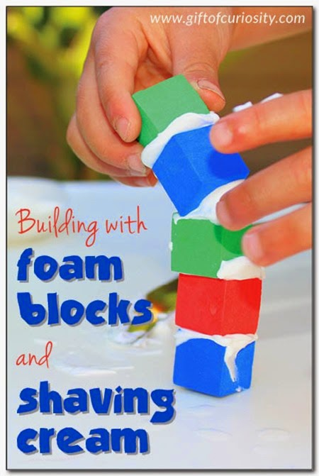 Foam Blocks + Shaving Cream = LOTS of fun!  #preschool #play #kidsactivities