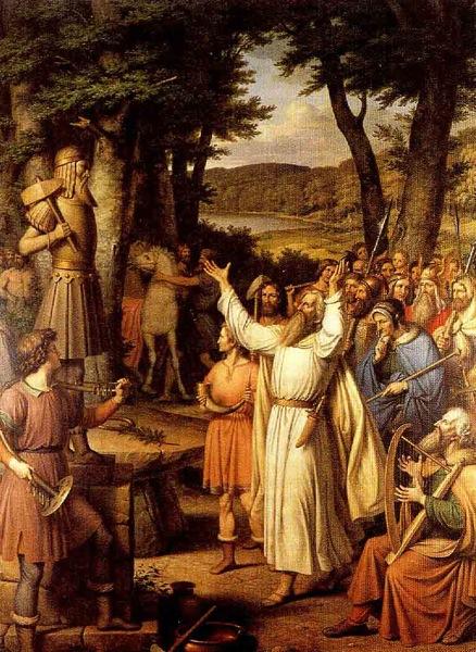 Un sacerdote  goði guía a la gente en un sacrificio a Thor Pintura de J L Lund
