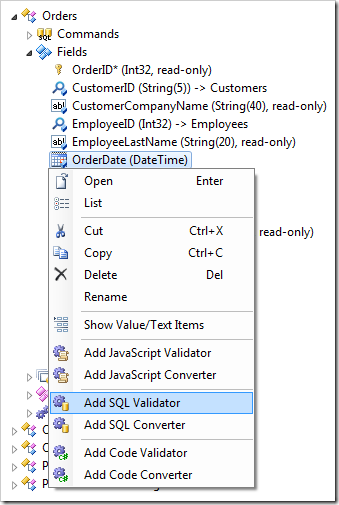 Add SQL Validator context menu option for a field in the Project Explorer in Code On Time web application generator.