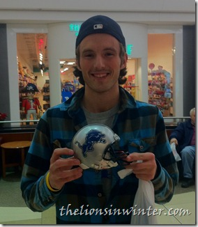 a Detroit Lions mini-helmet won by TLiW reader Chris, courtesy of Legends Sports &amp; Games.