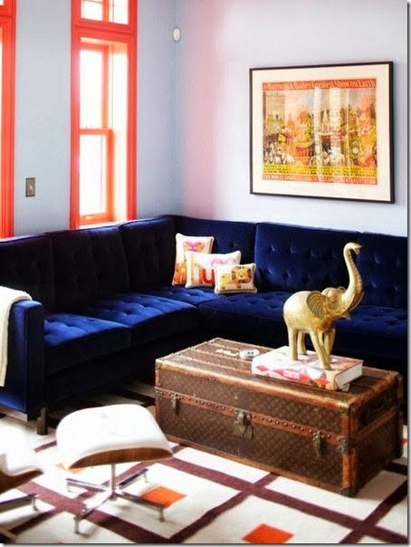 louis vuitton trunk blue velvet sofa living room