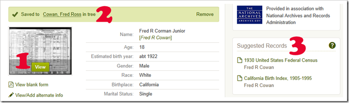 Fred R Cowan census record example from Ancestry.com