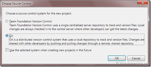 choose source control provider in visual studio 2013