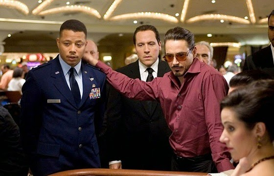 Terrence Howard and Robert Downey Junior in Iron Man