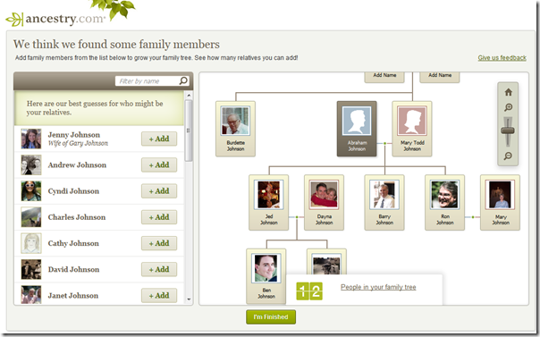 With the Ancestry Facebook app, I quickly built a tree