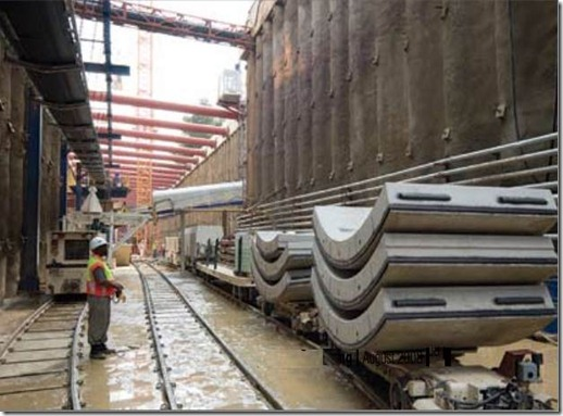 Tunnel lining segments on site,ready for transportation to the TBM point