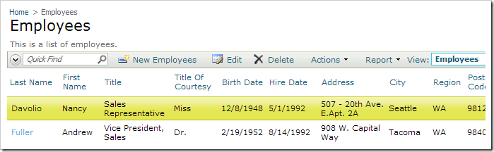 The employee record has been updated.