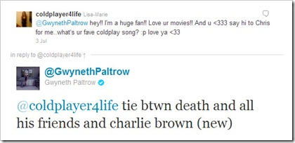 Twitter - @GwynethPaltrow- @coldplayer4life tie btwn ...