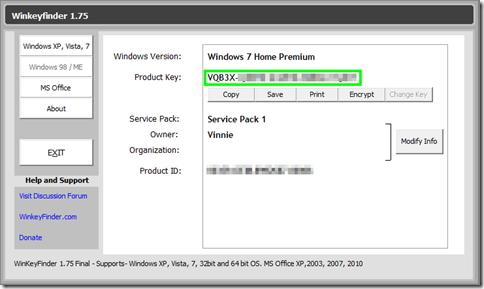 WinKeyFinder visualizza il codice di attivazione di Windows