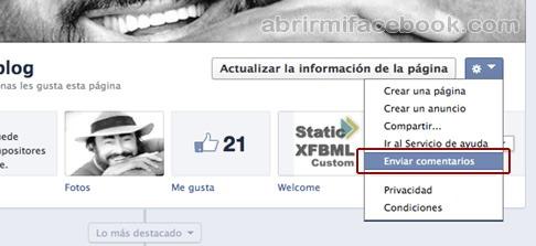 Enviar comentarios a Facebook