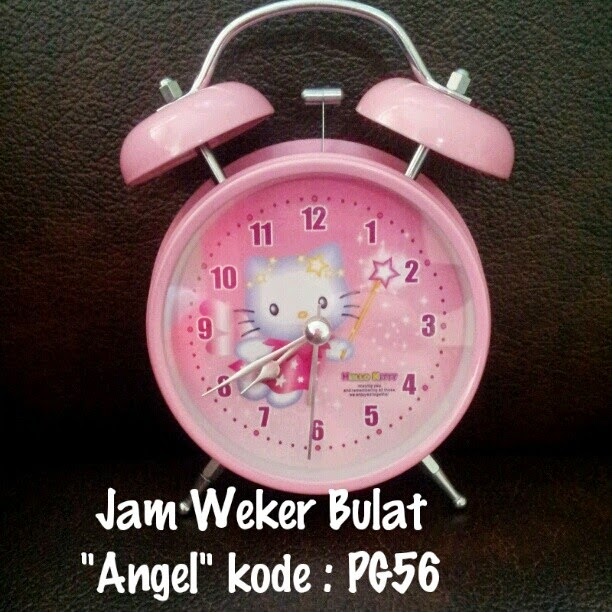 Jam Weker Hello Kitty Murah Grosir Ecer Bulat Motif Angel