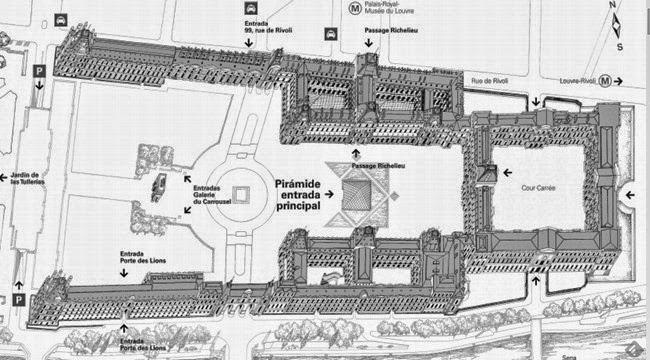 Plano entradas Museo del Louvre