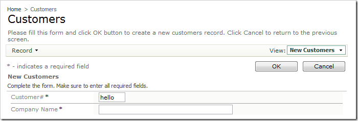 CustomerID field with lowercase letters.