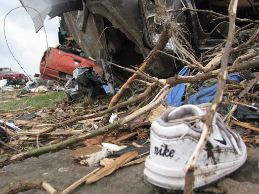 Debris near St. John's Regional Health Center in Joplin, including a baby's shoe. (Photo credit: Jennifer Moore)