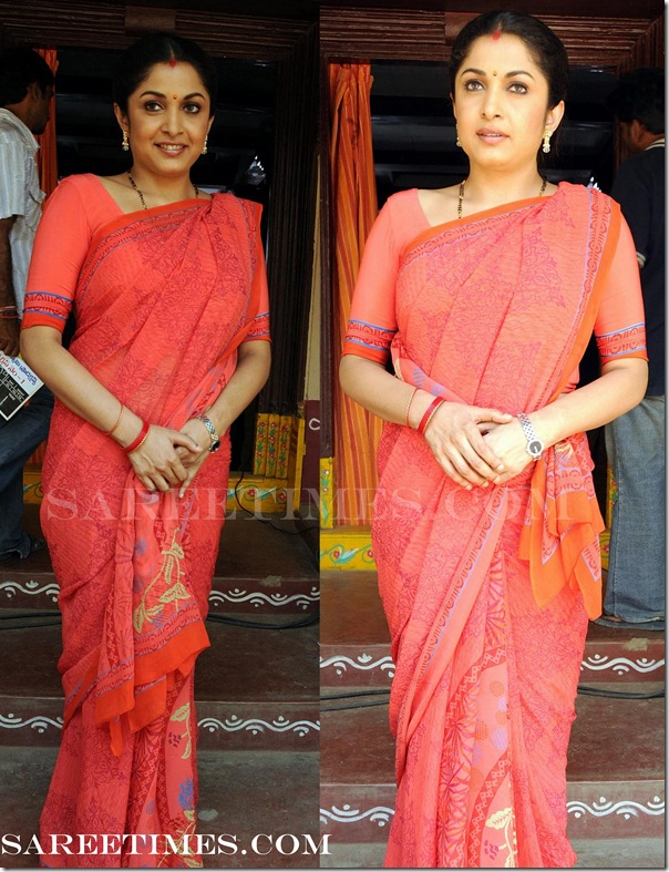 Ramya_Krishna_Red_Saree