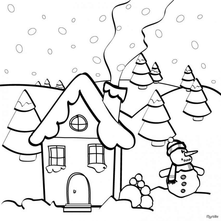 Pinos de navidad y casas