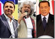 Matteo Renzi, Beppe Grillo e Silvio Berlusconi