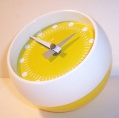 yellow and white Waltham table clock
