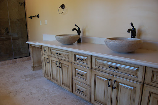 White Painted Kitchen Cabinets with Glaze