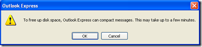 Outlook Express Can Compact Messages  How To Disable This Message