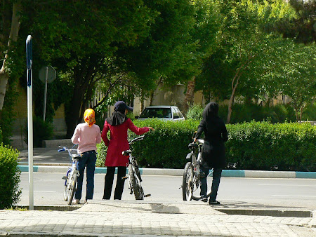 Girls riding bicycles in Isfahan, Iran