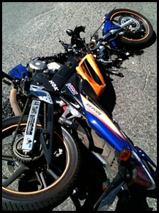 FERREIRA THOMAS BIKER IN COMA AFTER RUN DOWN BY MEC BLUELIGHT BMW ACCIDENT BIKE PIC BY NIEL MULLER Nov42011