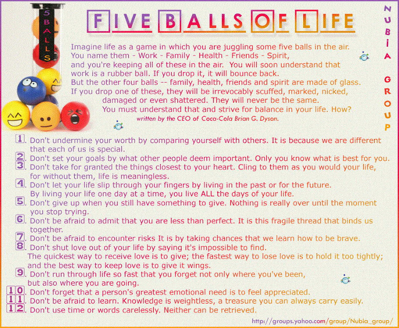 Five Balls Of Life: Family, Work, Health, Friends and Spirit