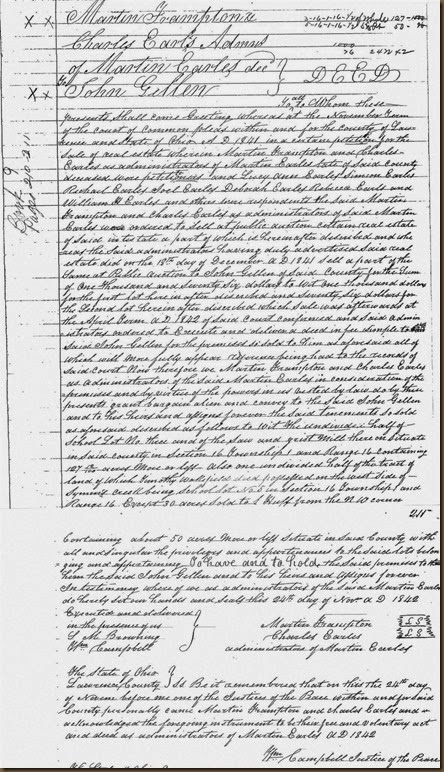 GILLEN_John_Land deed from Earles estate in 1840_Lawrence County Ohio