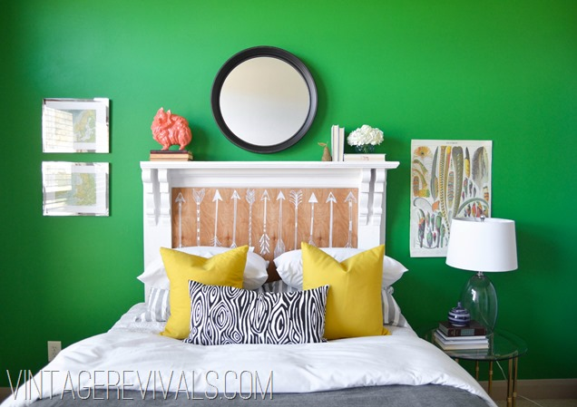 DIY Arrow Mantle Headboard Update @ Vintage Revivals
