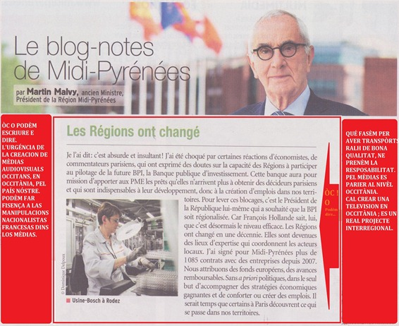 Martin Malvy repotega contra los mèdias franceses