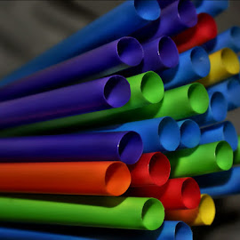Straws by Rhonda Musgrove - Abstract Patterns ( red, blue, straw, green, yellow )