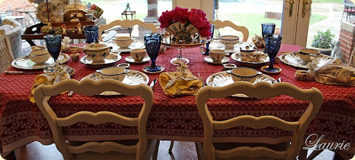 I Used Clear Glass Plates Over Aluminum Quimper Trays For The Place Settings .