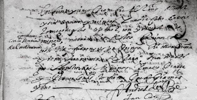 Bartolome Gonzalez and Isabel Gomez 1631 Marriage.jpg