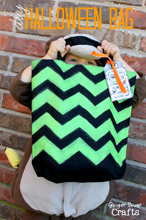 diy Halloween bag with Cutting Edge Stencils #spon #tutorial #chevron #stencil
