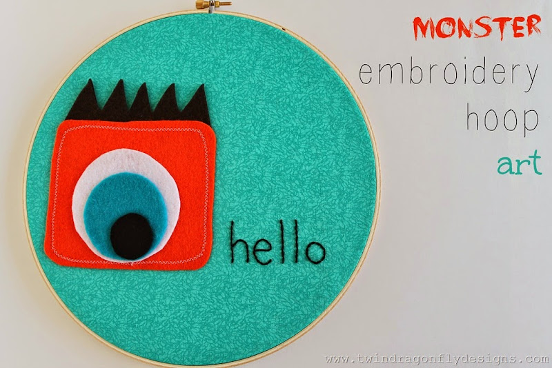 Monster Embroidery Hoop Art