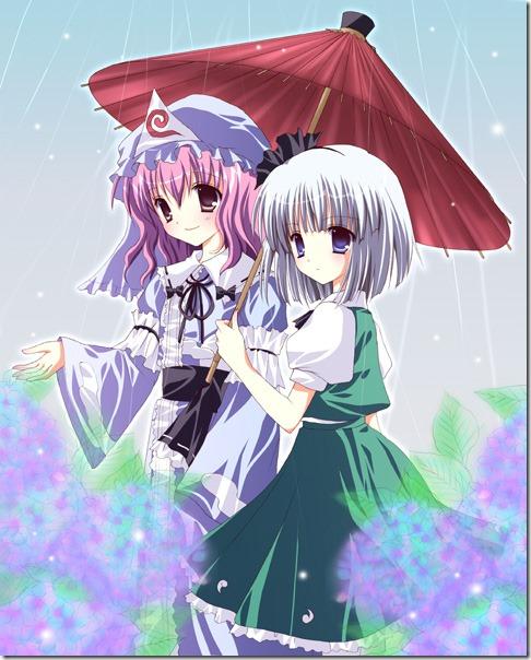 Yuyuko e Youmu passeando na chuva.