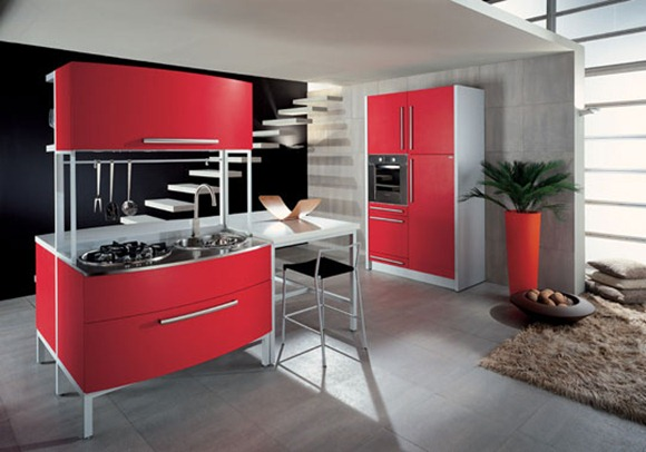 cocina roja de estilo italiano