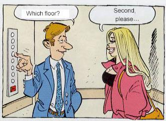 "Man (to woman): ""which floor?"". Woman replies ""second please"""