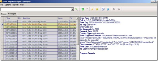 Lync - Snooper - Analyze error reports - list
