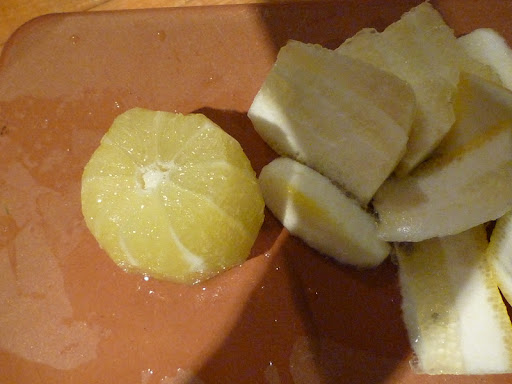 After trimming the lemon ends, follow the curve of the fruit to remove zest and pith.