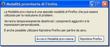 Modalità provvisoria di Firefox