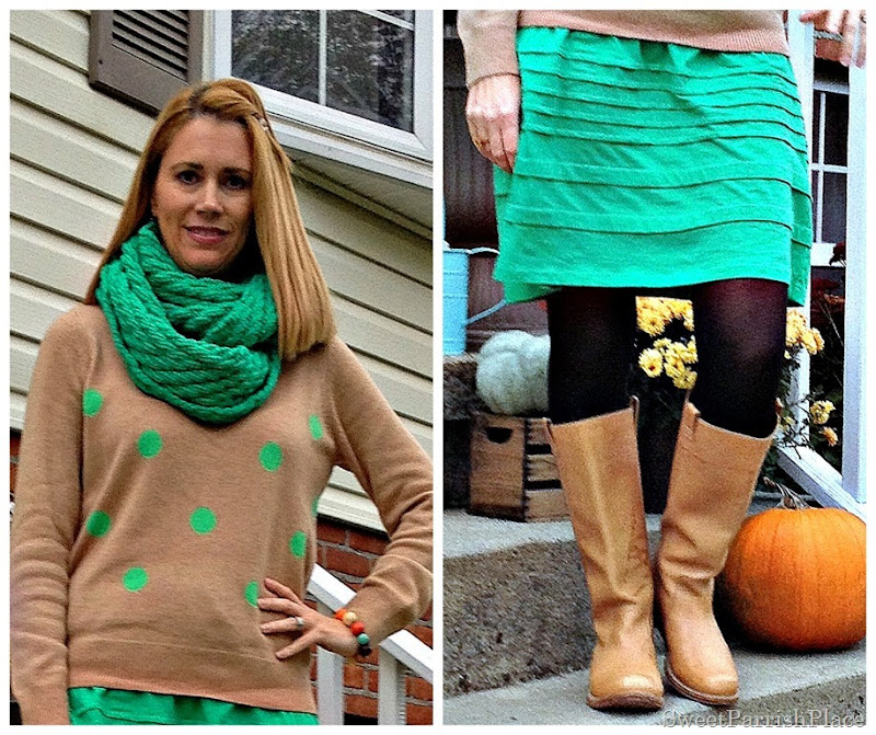 green skirt, polka dots, black tights, tan high boots