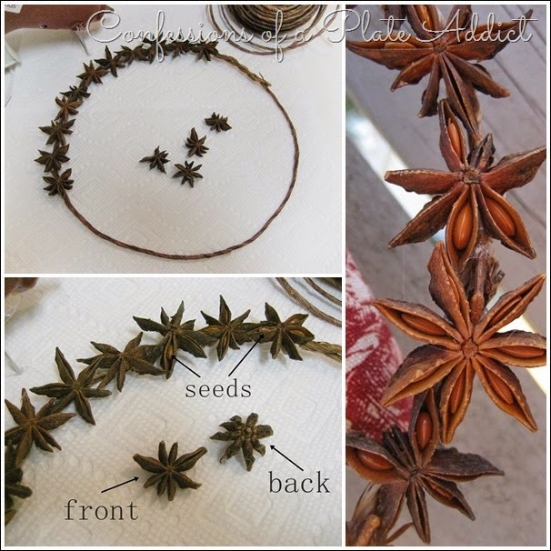 CONFESSIONS OF A PLATE ADDICT Ticking and Toile Star Anise Wreath tutorial