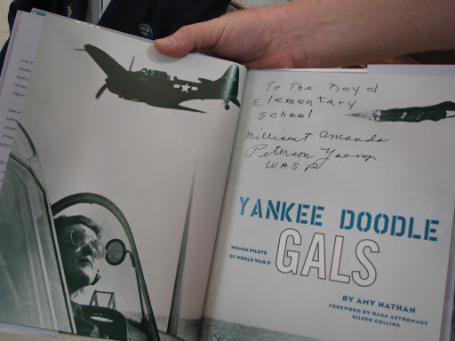 Young donated this autographed book to Boyd Elementary on the women pilots of World War II.