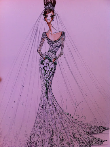 For Kate's dress, he would just add more embroidery for increased drama -- this sketch illustrates the final look.